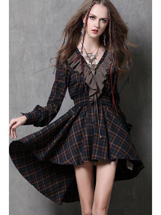 women Checked Flounce Splicing Long Sleeve Dress - BLACK L