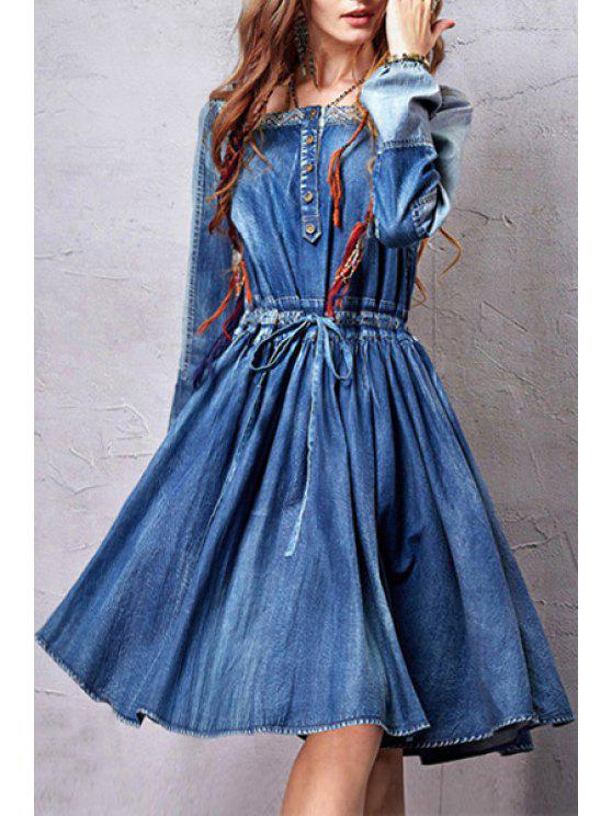 ladies Square Neck Embroidery Bleach Wash Dress - BLUE S