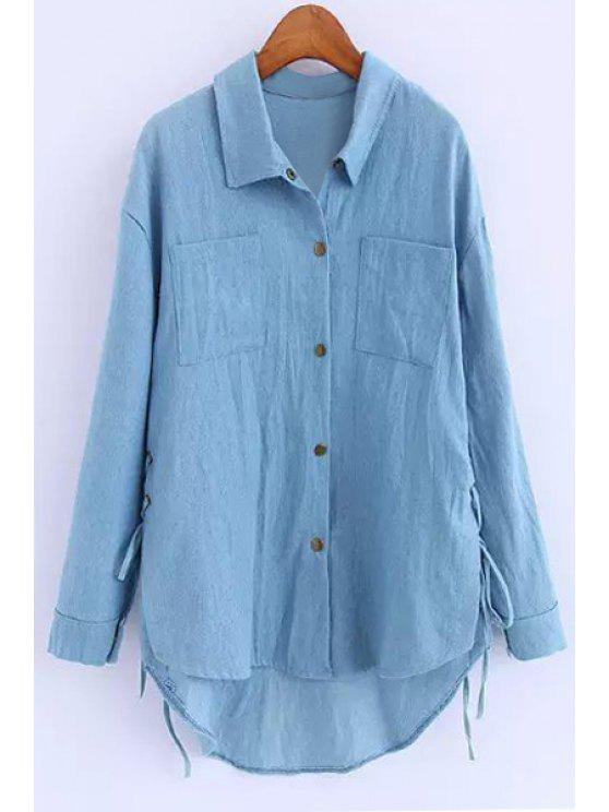 outfits Long Sleeve Lace-Up Denim Shirt - BLUE S