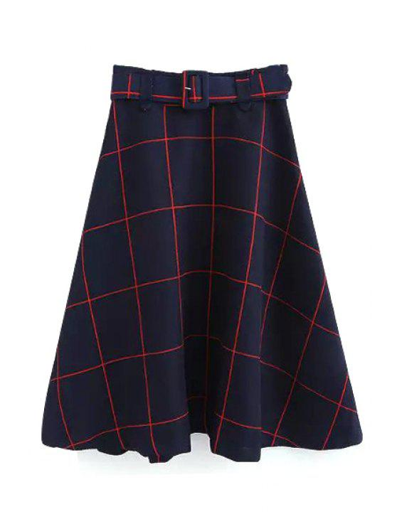 women's Plaid A-Line Midi Skirt With Belt - RED L