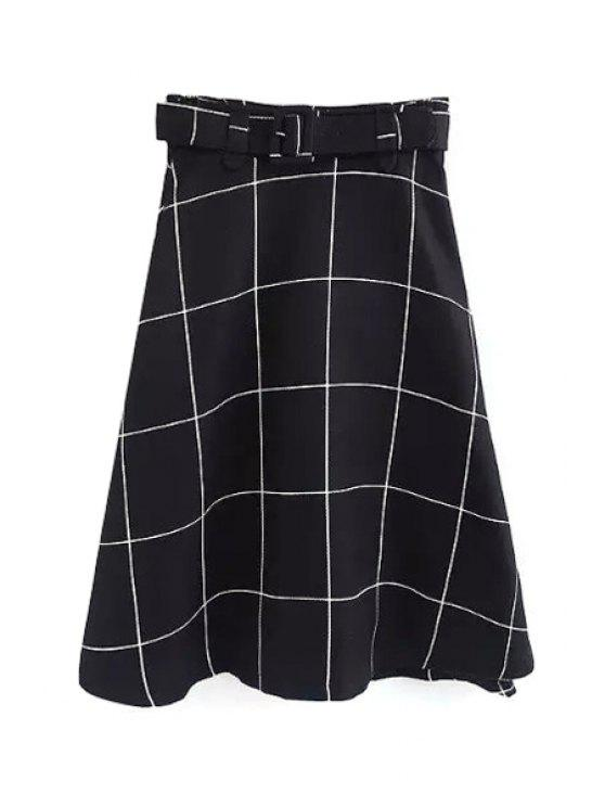 lady Plaid A-Line Midi Skirt With Belt - WHITE S