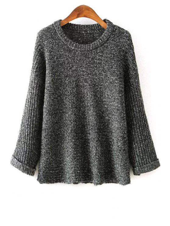 shops Loosing-Fitting Round Collar Long Sleeves Pullover Sweater - GRAY ONE SIZE(FIT SIZE XS TO M)