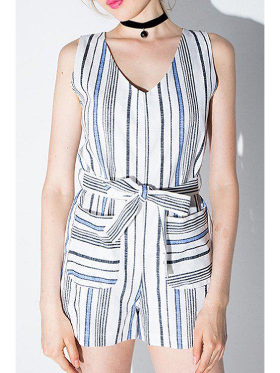 ladies Striped V Neck Sleeveless Self Tie Playsuit - WHITE AND BLACK S