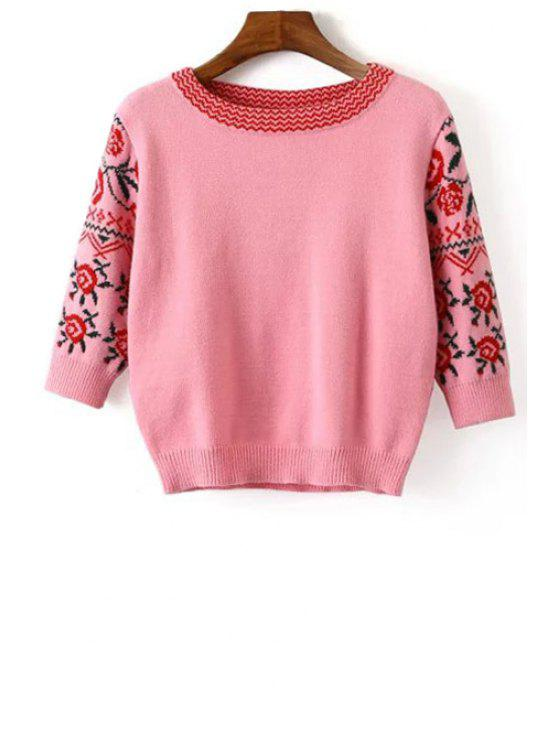 buy 3/4 Sleeve Jacquard Sweater - PINK ONE SIZE(FIT SIZE XS TO M)