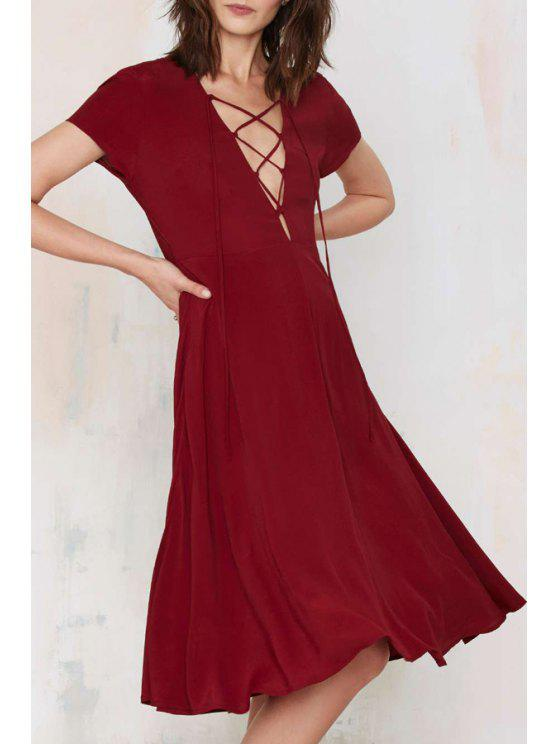 fancy Plunging Neck Lace Up Short Sleeve Dress - WINE RED XS