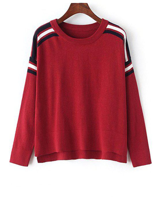 outfit Loose-Fitting Red Jumper - WINE RED ONE SIZE(FIT SIZE XS TO M)