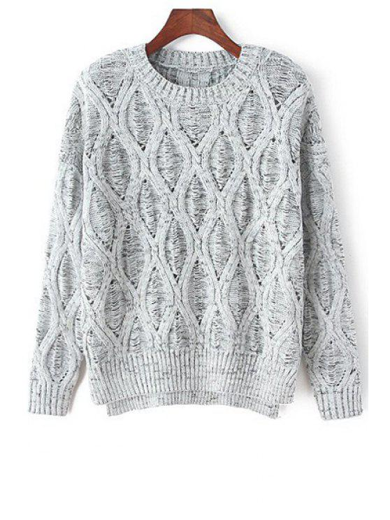 shop Loose-Fitting Hollow Jumper - GRAY ONE SIZE(FIT SIZE XS TO M)