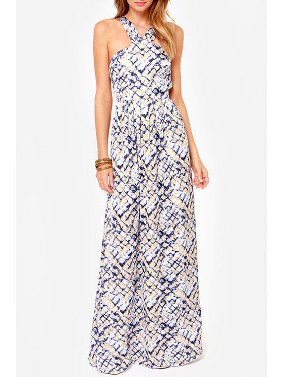 trendy Rock Print V Neck Sleeveless Maxi Dress - OFF-WHITE M