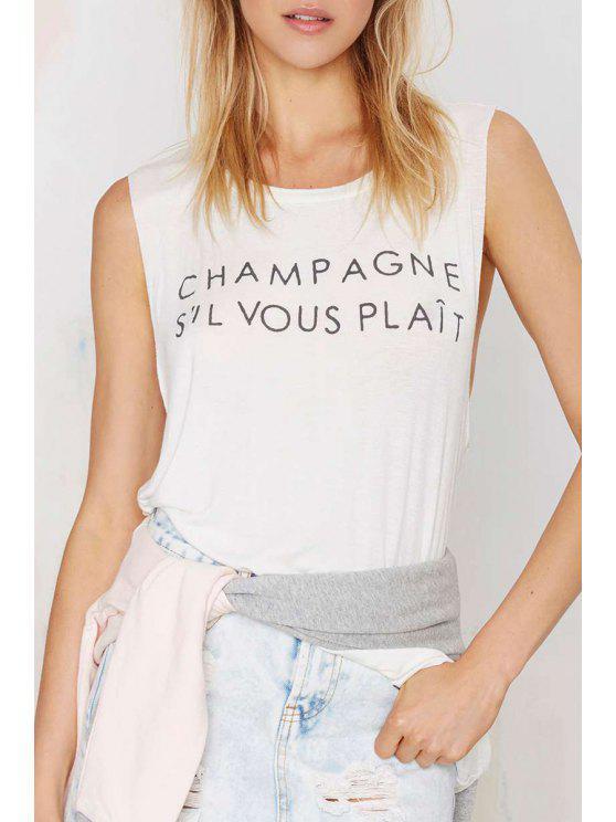 shops Jewel Neck Letter Print Sleeveless Tank Top - WHITE XS