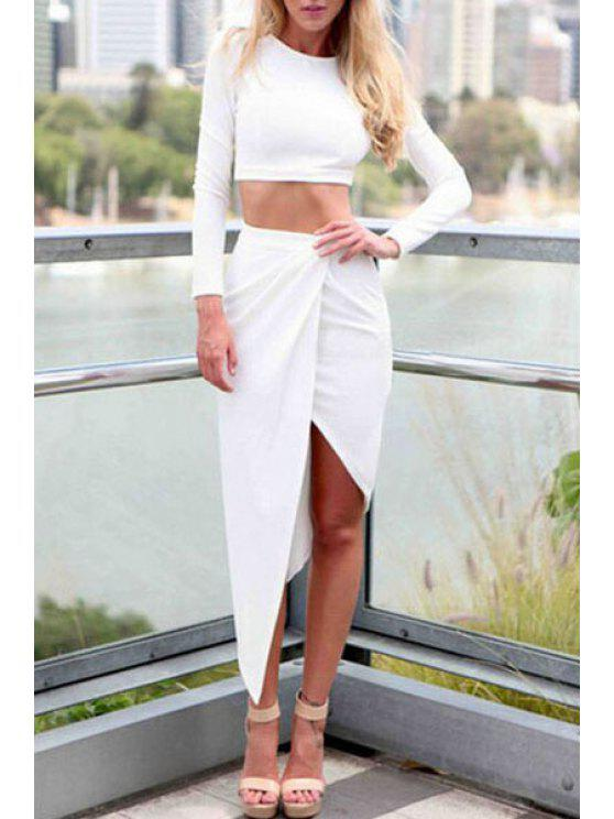 women's Long Sleeve Crop Top and Solid Color Skirt Suit - WHITE S