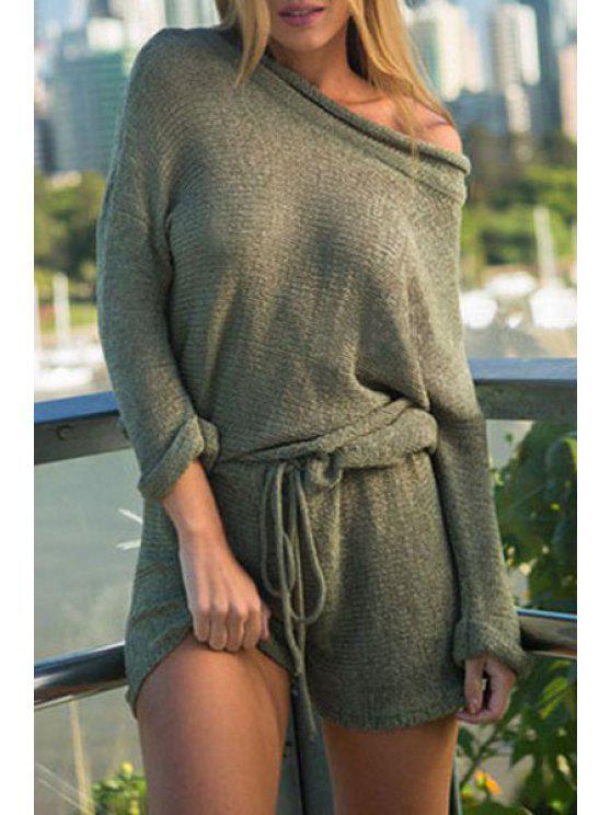 latest Solid Color Oblique Shoulder Long Sleeve Playsuit - GREEN S