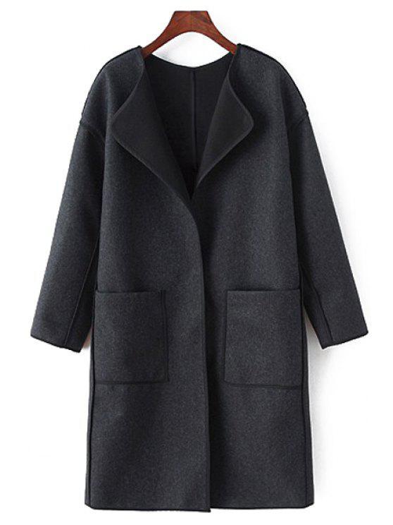 buy Long Sleeve Pocket Design Coat - BLACK M