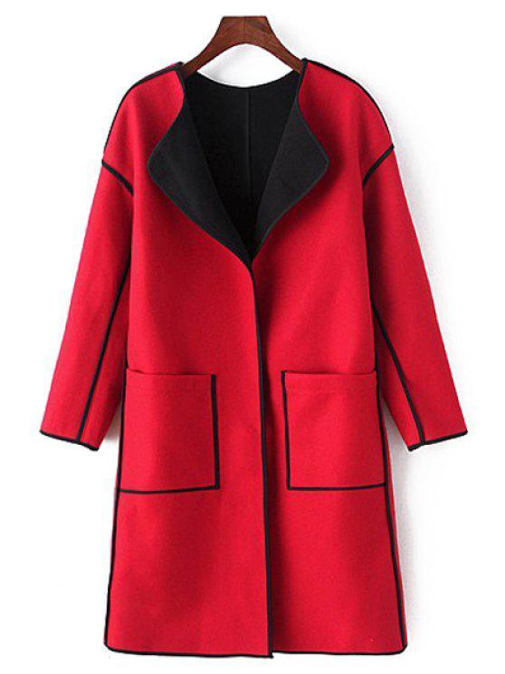 ladies Long Sleeve Pocket Design Coat - RED M