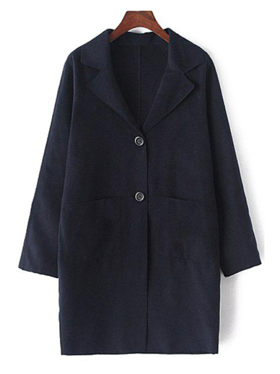 lady Lapel Long Sleeve Single-Breasted Coat - CADETBLUE L