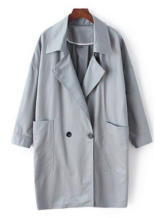 lady Lapel Long Sleeve Pocket Trench Coat - GRAY M