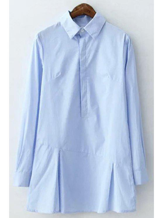 outfits Shirt Collar Long Sleeve Stripe Dress - BLUE L