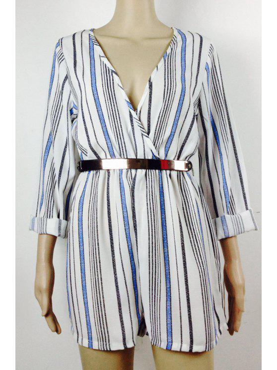 women's Striped Plunging Neck Long Sleeve Playsuit - BLUE S