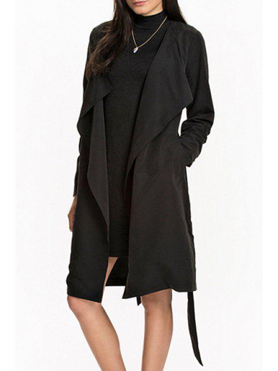 chic Solid Color Belt Long Sleeve Trench Coat - BLACK XS