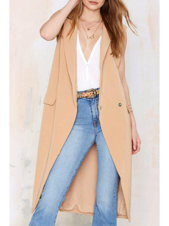 womens Lapel Solid Color Sleeveless Trench Coat - YELLOW XS