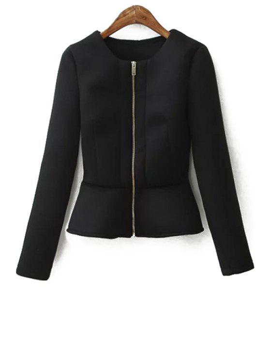 hot Zippered Solid Color Peplum Coat - BLACK M