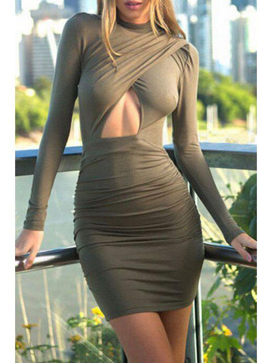ladies Hollow Stand Long Sleeve Bodycon Dress - ARMY GREEN M
