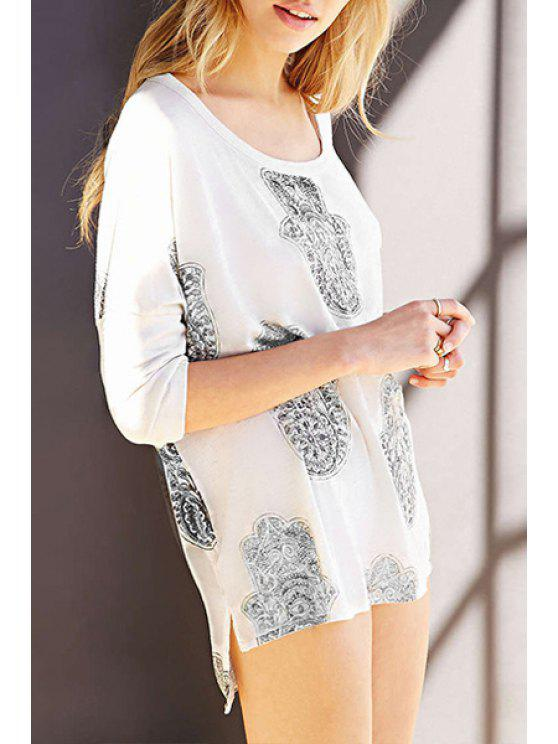 unique Scoop Neck Abstract Print 3/4 Sleeve T-Shirt - WHITE XS