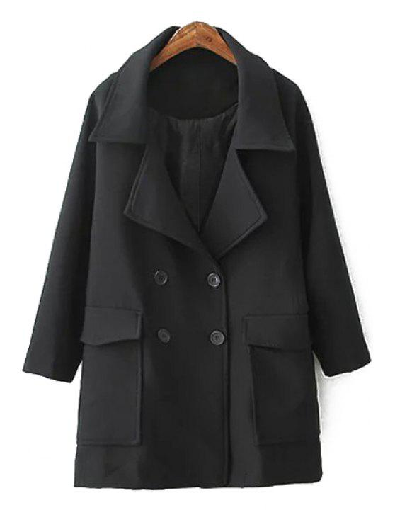 shops Solid Color Double-Breasted Trench Coat - BLACK S