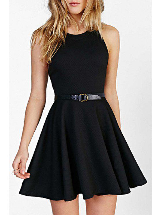 shops Jewel Neck Black Backless Sleeveless Dress - BLACK 2XL
