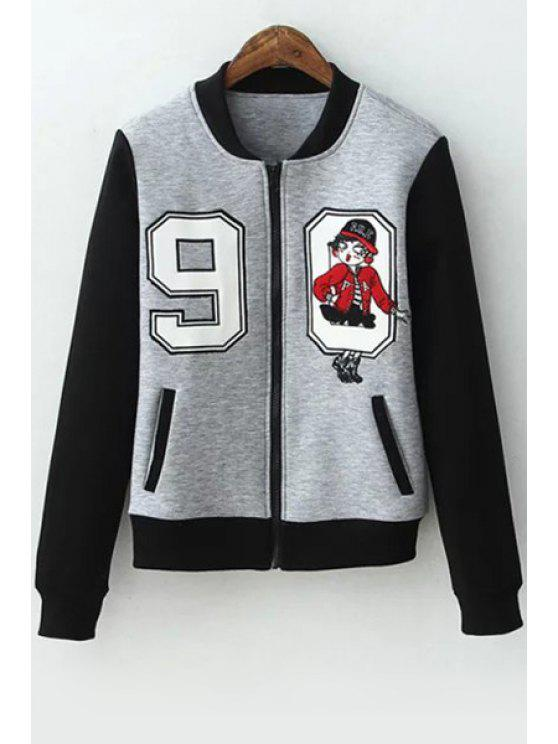womens Number Pattern Quilted Baseball Jacket - GRAY S