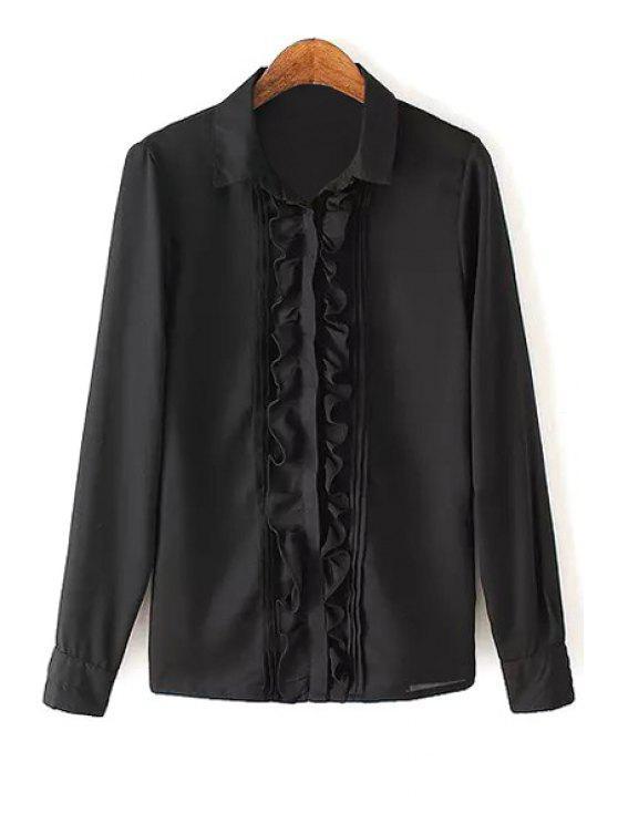 women Ruffles Spliced Shirt Neck Long Sleeve Shirt - BLACK S