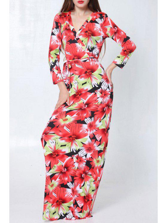 lady V Neck Floral Print Long Sleeve Dress - WINE RED ONE SIZE(FIT SIZE XS TO M)