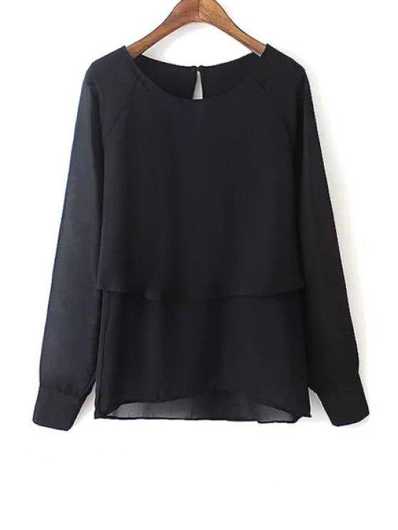lady Black Scoop Neck Long Sleeve Blouse - BLACK S