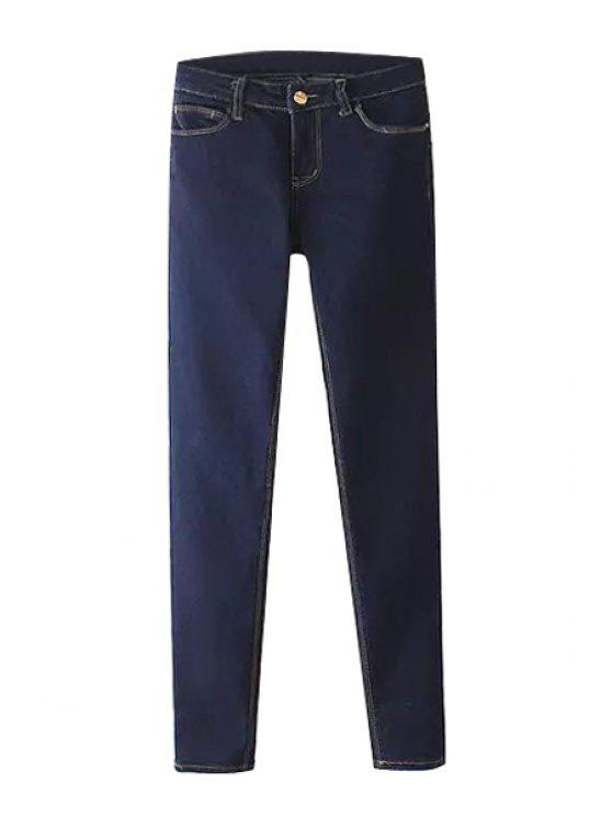 ladies Deep Blue Narrow Feet Jeans - DEEP BLUE S