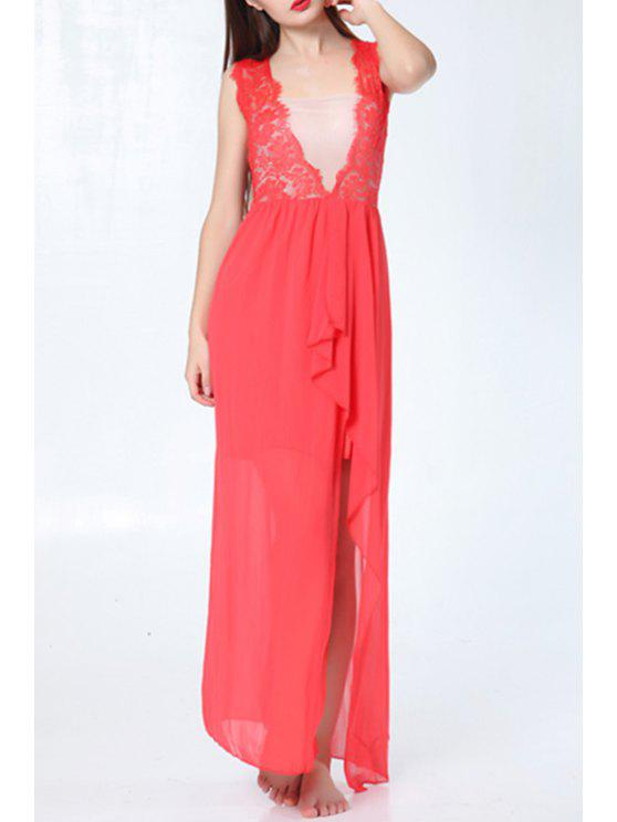 chic Plunging Neck Lace Chiffon Splicing Sleeveless Dress - RED S