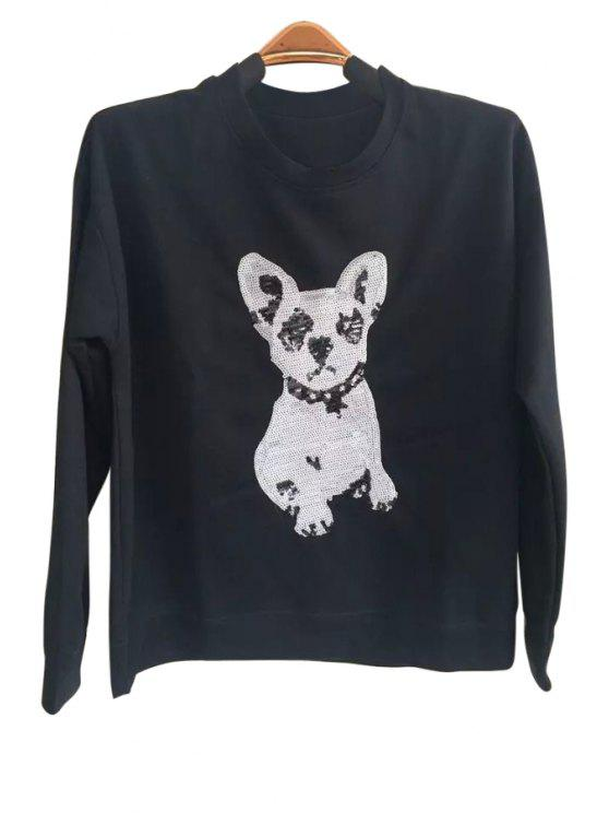 shop Puppy Pattern Loose Sweatshirt - BLACK M