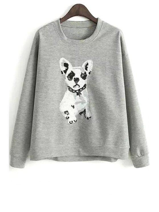 Puppy Pattern Loose Sweatshirt - Grau M