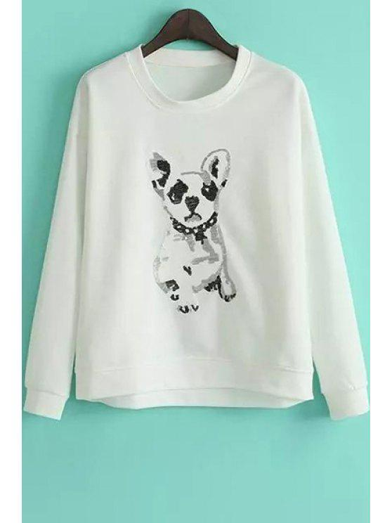 Puppy Pattern Loose Sweatshirt - Weiß M