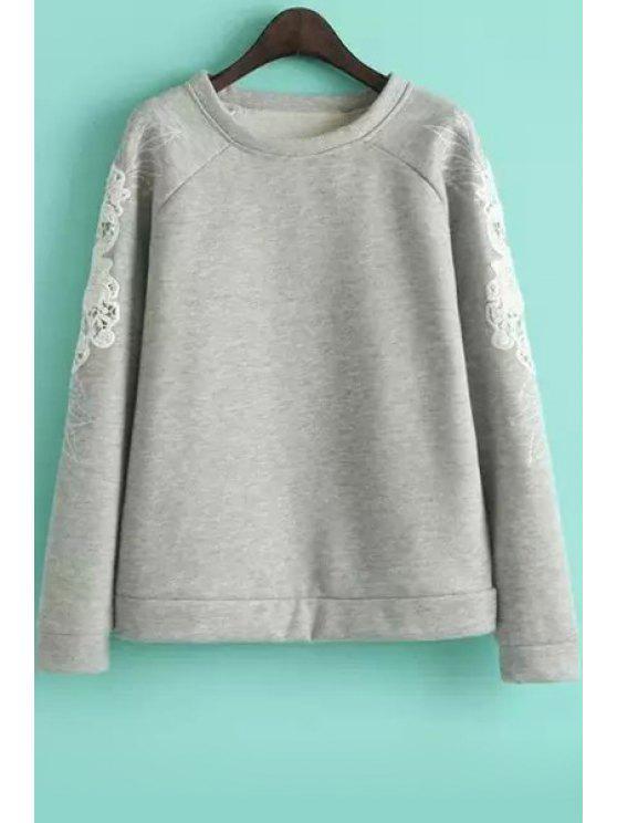 sale Embroidered Sleeve Loose Sweatshirt - GRAY M