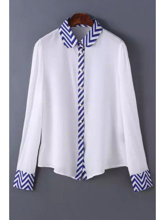 new Zig Zag Spliced Shirt Neck Long Sleeve Shirt - WHITE S