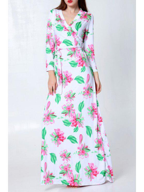 sale Full Floral V Neck Long Sleeve Maxi Dress - WHITE AND GREEN ONE SIZE(FIT SIZE XS TO M)