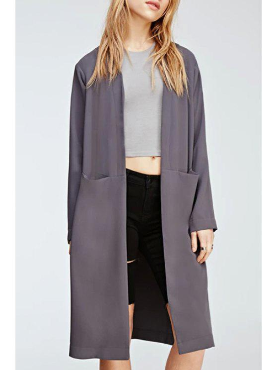fashion Open Front Side Slit Trench Coat - PURPLE S