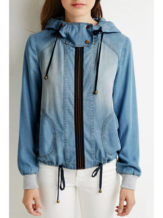women Hooded Bleach Wash Denim Coat - BLUE XL