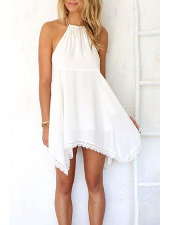 best Halter Neck Solid Color Lace Edging Dress - WHITE S