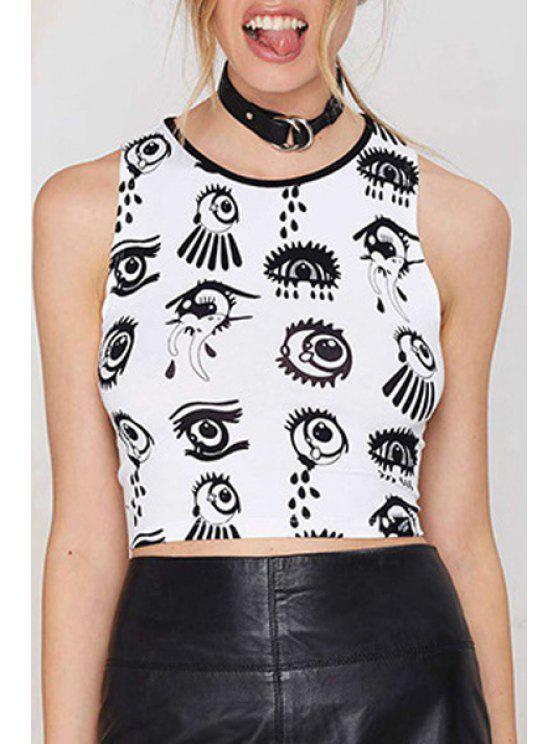 lady Eye Pattern Crop Top - WHITE S