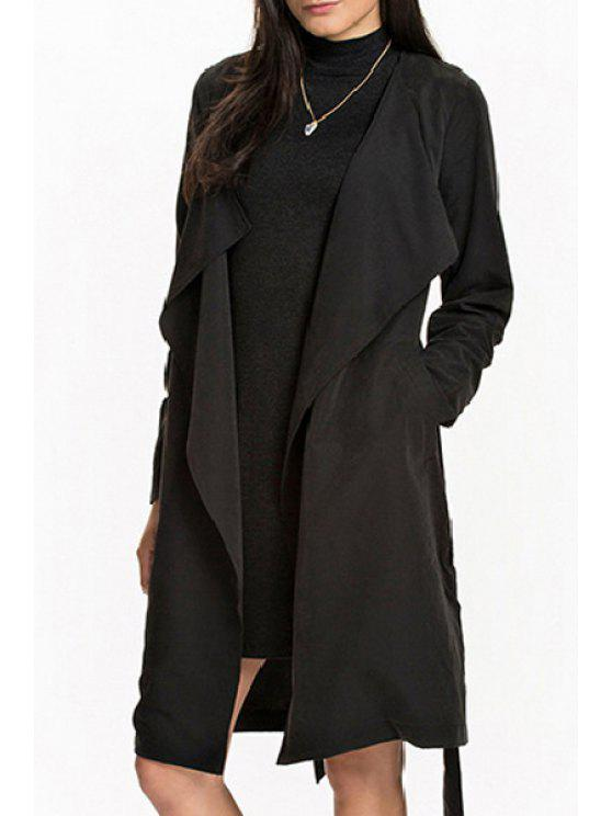 buy Pure Color Self Tie Turn Down Collar Trench - BLACK S