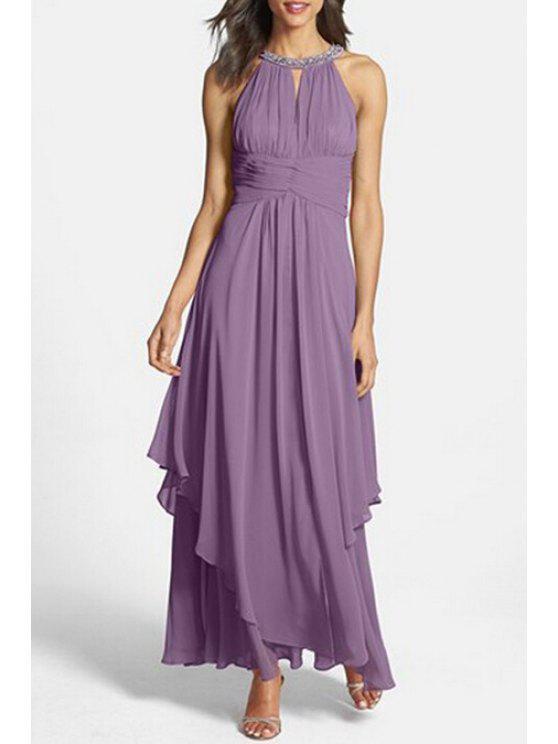 trendy Solid Color Rhinestone Embellished Sleeveless Dress - PURPLE S