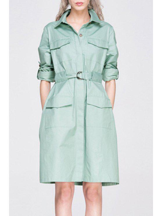 chic Long Sleeve Big Pocket Coat Dress With Belt - LIGHT GREEN S