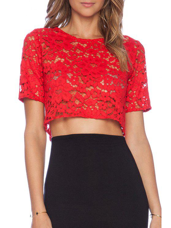 fashion Jewel Neck Red Lace Short Sleeve Crop Top - RED L