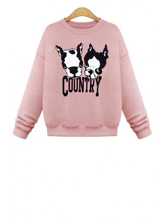 sale Dog Pattern Long Sleeves Sweatshirt - PINK L