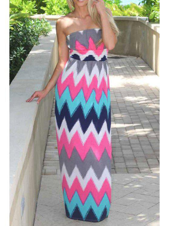 best Zig Zag Strapless Waxi Dress - AS THE PICTURE S